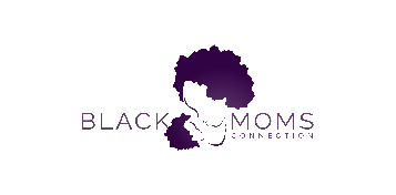Logo of Black moms connection: Their name written in a purple color with an outline of a mother and child looking at each other closely between the words black and Moms