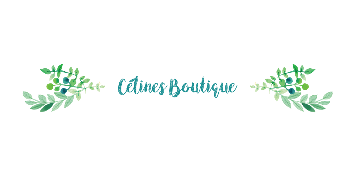 Logo of our march break partner Celines Boutique: Their name written in cursive in light green, with two watercolor green branches facing outwards from the name, reminding patrons to support live theatre, and play reading