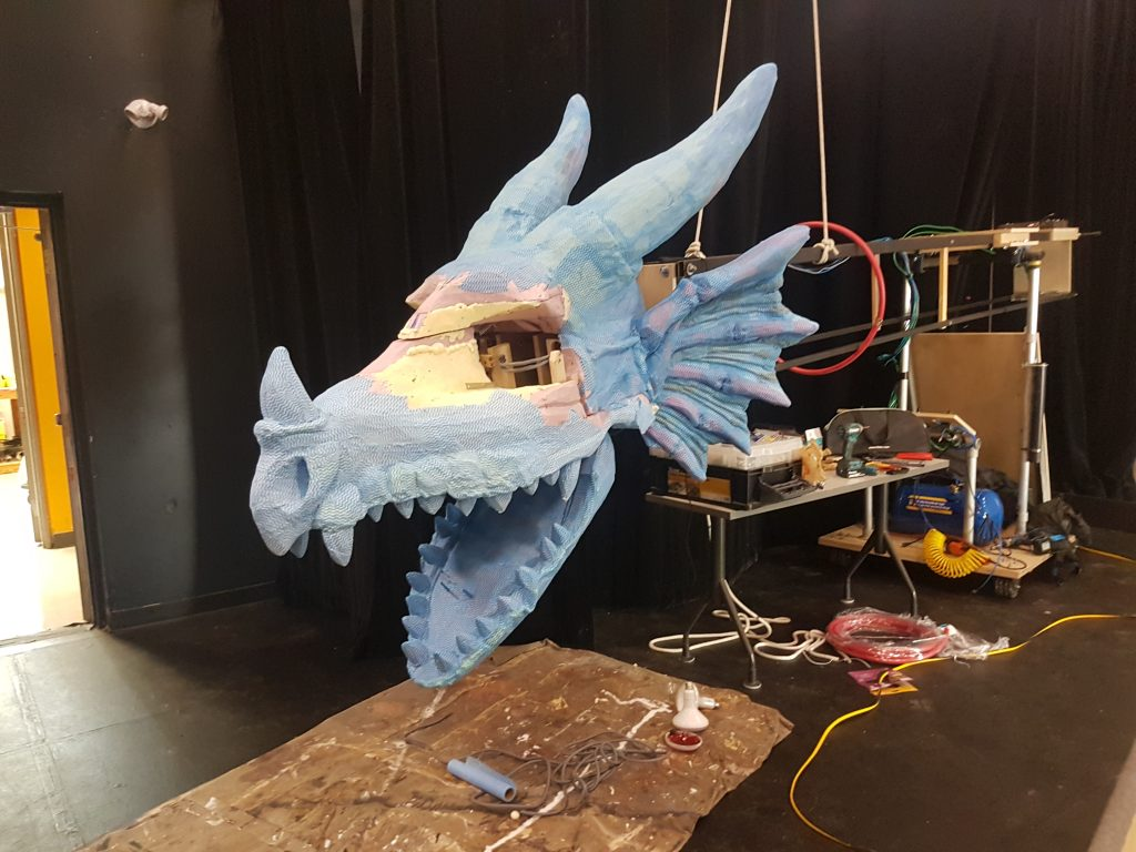 An unfinished dragon puppet made by Erindale Theatre at the University of Toronto Mississauga.
