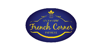 Logo of our march break partner French Corner Patisserie: A blue oval with their name written in cursive, with gold ornaments around it, reminding patrons to support live theatre, and play reading