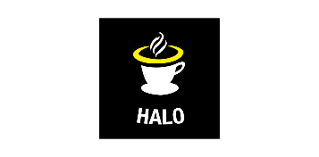 Logo of Halo Cafe: A black square with a white coffee mug in the middle. with a yellow halo. Smoke particles are above the cup, and the word halo is written at the bottom.