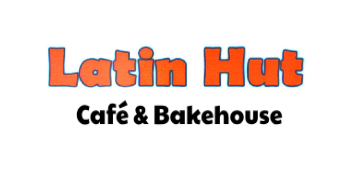 "Logo of our march break partner Latin Hut: Latin Hut written in a boxy font in orange color, with ""Cafe and Bakehouse"" written underneath in black, reminding patrons to support live theatre, and play reading"