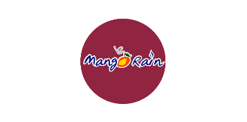 Logo for Mango Rain: Maroon circle, with their name written in the middle in cursive, with the o in mango replaced with a mango