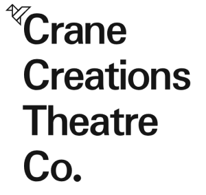Logo of Crane Creations Theatre company, where each word is given a new line. An origami crane is placed at the top left.