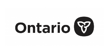 Logo of our funder the ontario government: Ontario written in black and an icon representing a trillium flower in white on a black background, reminding patrons to support live theatre