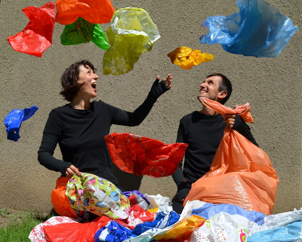 Csaba Raduly and Pavla Mano playing with their puppets made from plastic bags for their show named Plastique.