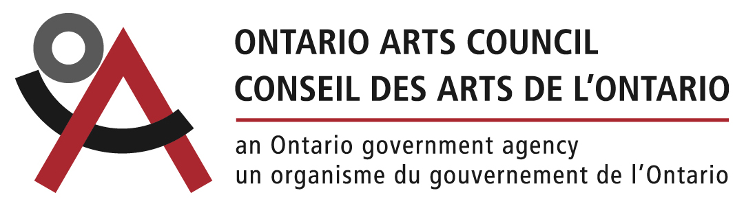 """Ontario Arts Council logo: OAC symbol in red, black and grey stands to the left of the Ontario Arts Council text with the engislt text on top following the french text below with a red line separating the text below sating """"an Ontario governing agency"""", supporters of Crane Creations Theatre Company and puppet show, Theatre tickets coming soon"""