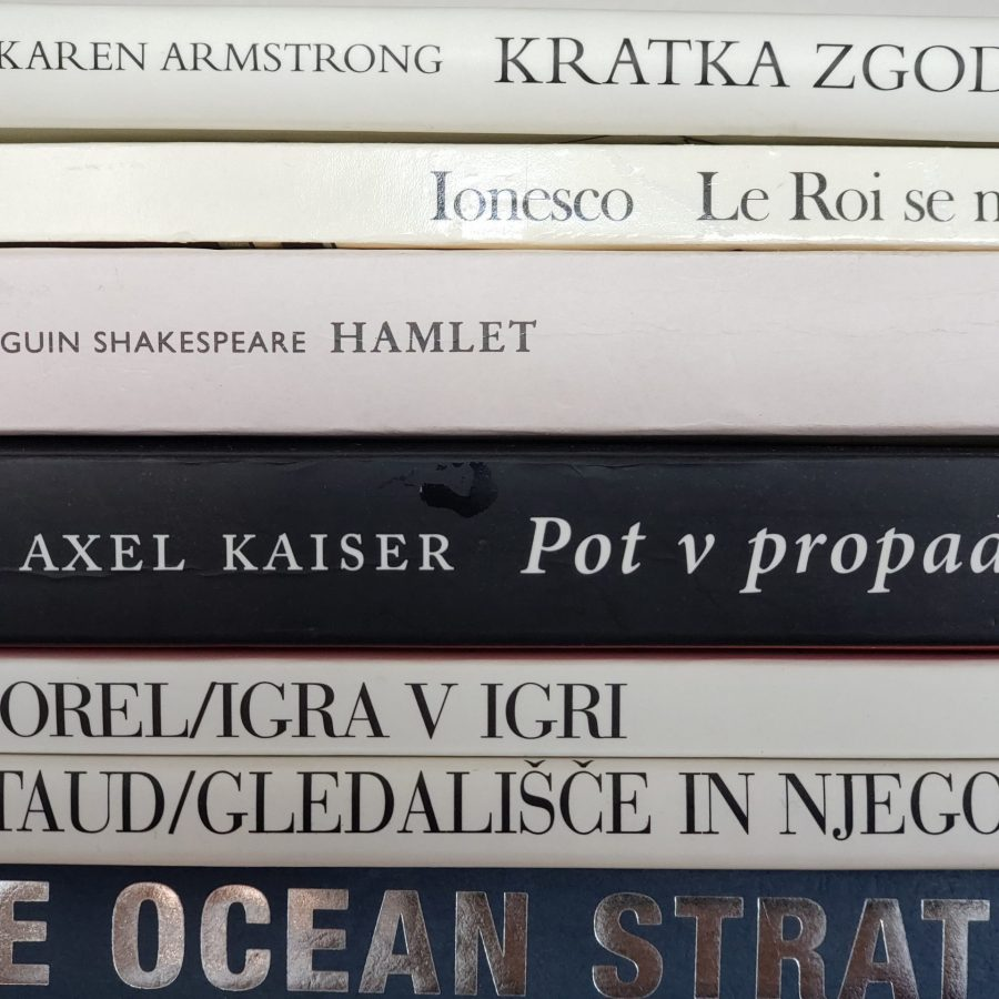 A close up of a pile of theatre books