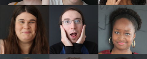 Portrait collection of people holding their faces while making different expressions as they are participating in live events in Mississauga and activities in Mississauga.