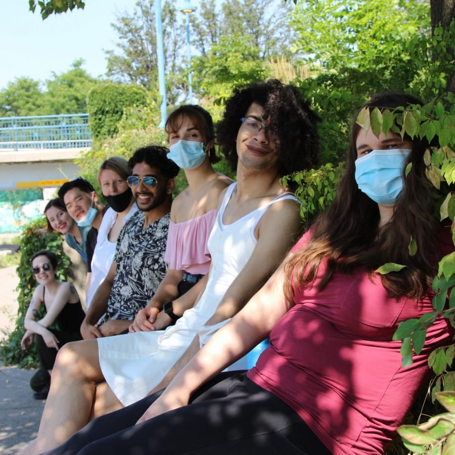 The emerging artists of the 2020 Summer ensemble posing for a group photo at Port Credit